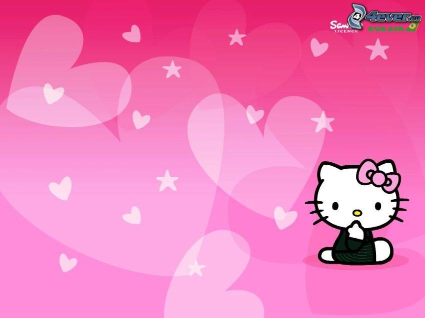 Hello Kitty, serduszka, gwiazdy