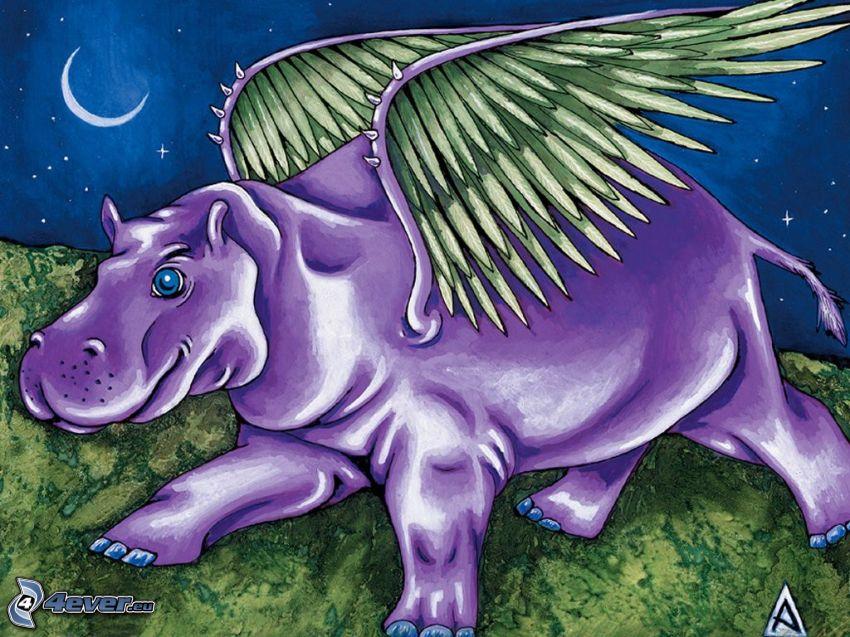 hipopotam, skrzydła, księżyc, noc