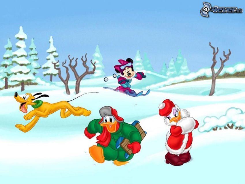 Kacze opowieści, Kaczor Donald, Daisy, Pluto, Minnie
