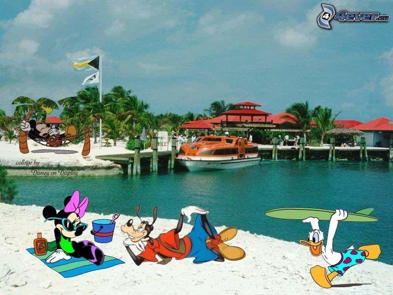 Kacze opowieści, Mickey Mouse, Minnie, Goofy, Kaczor Donald, plaża, Postacie Disneya