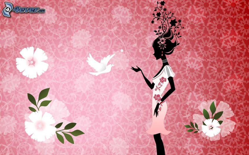 kobieta narysowana, cyfrowe kwiaty