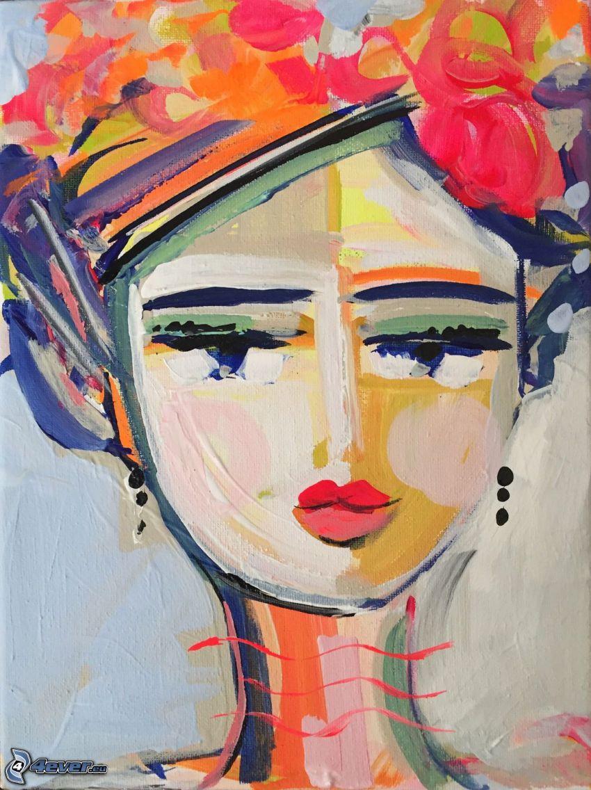 kobieta narysowana, czerwone usta