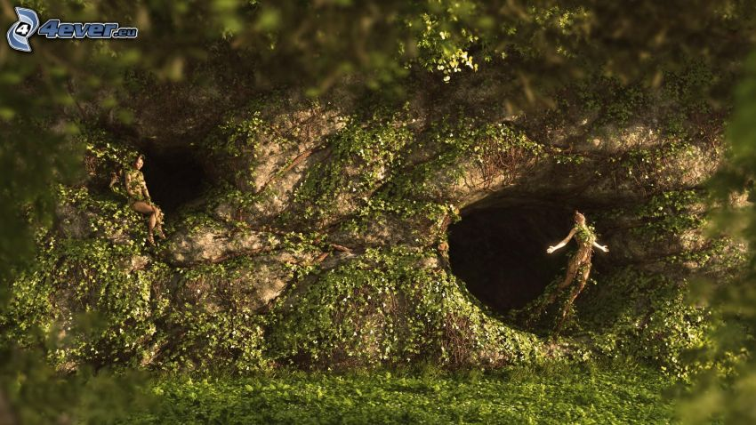 kobieta narysowana, jaskinia