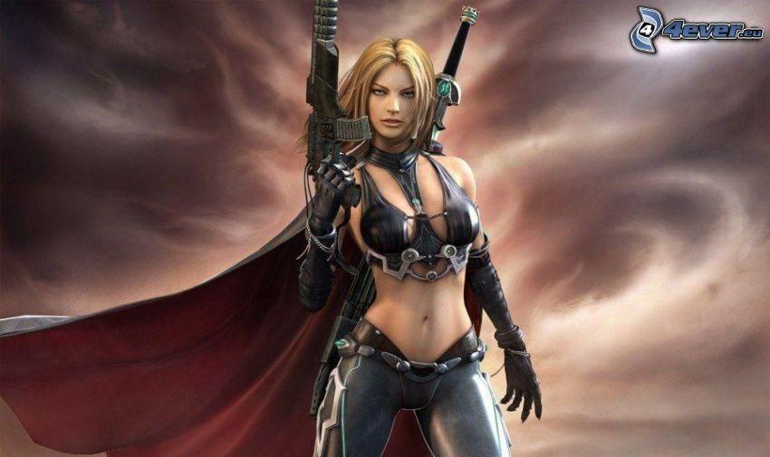 kobieta narysowana, kobieta z pistoletem