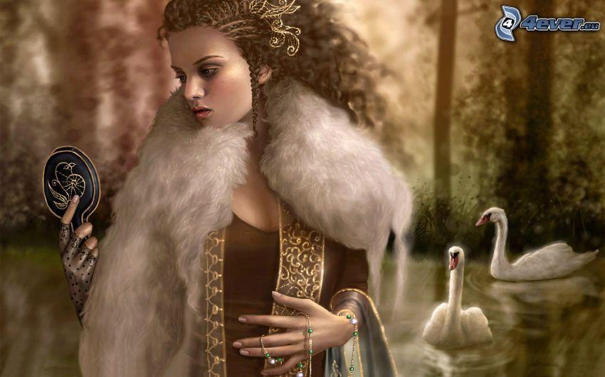 kobieta narysowana, lustro, łabędzie