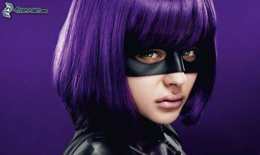 kobieta narysowana, maska na oczy, fioletowe włosy