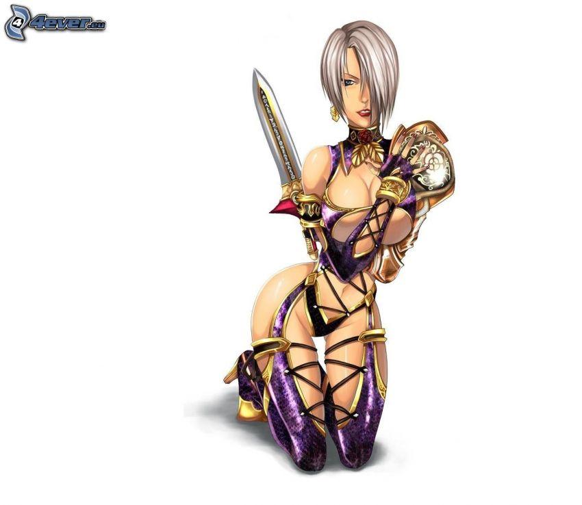 kobieta narysowana, miecz