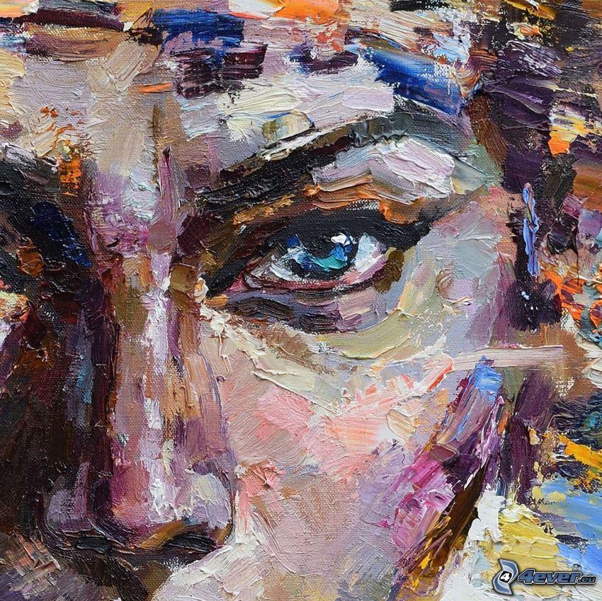 kobieta narysowana, niebieskie oczy