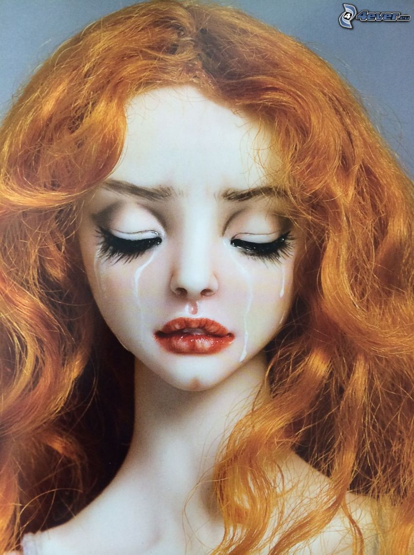 kobieta narysowana, płacz, smutek
