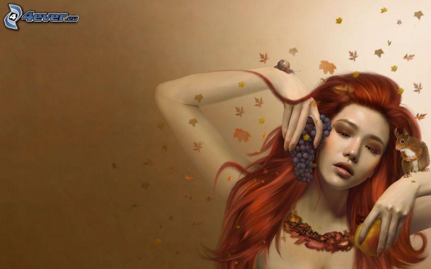 kobieta narysowana, rudowłosa, winogrona, wiewiórka, ślimak