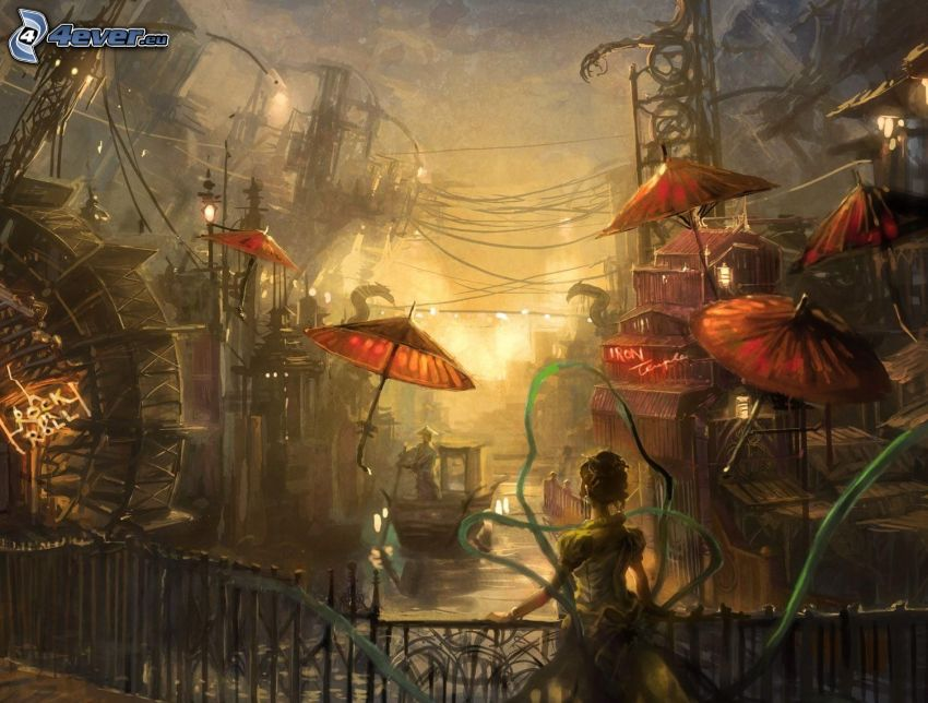 kobieta narysowana, sci-fi miasta, parasole