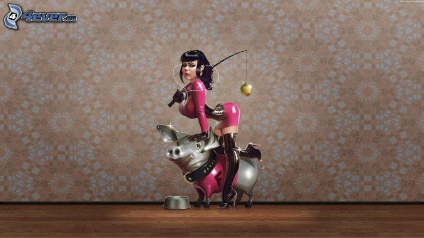 kobieta narysowana, świnia, różowa sukienka, wędka, miska