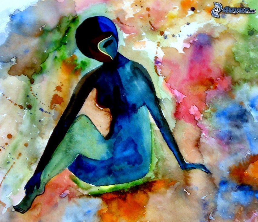 kobieta narysowana, sylwetka kobiety, kolorowe kleksy