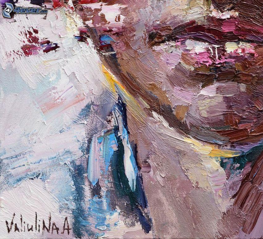 kobieta narysowana, usta