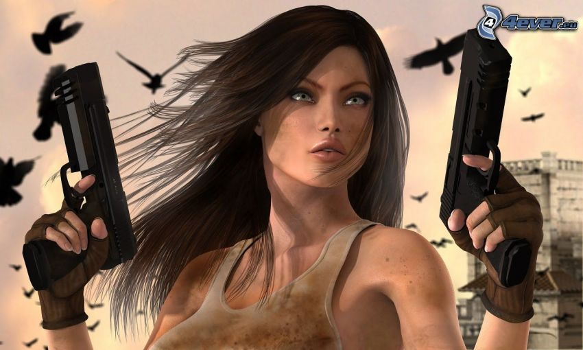 kobieta z pistoletem, kobieta narysowana