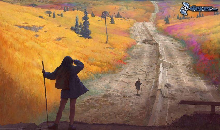 kobiety, autostrada, turystyka, jesień
