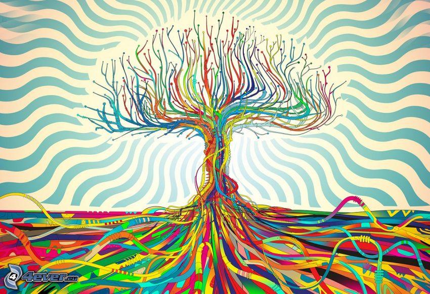 kolorowe drzewa, linie