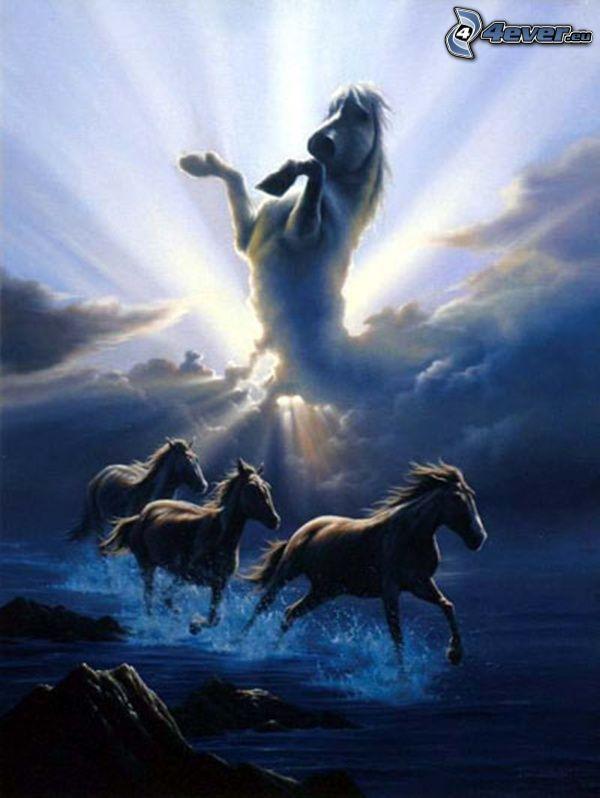 konie, galop, koń na plaży, biały koń, chmury, poświata