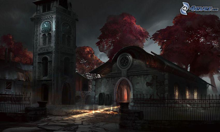 kościół, noc