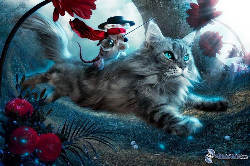 kot, mysz, czerwone róże, gerbery, bieg