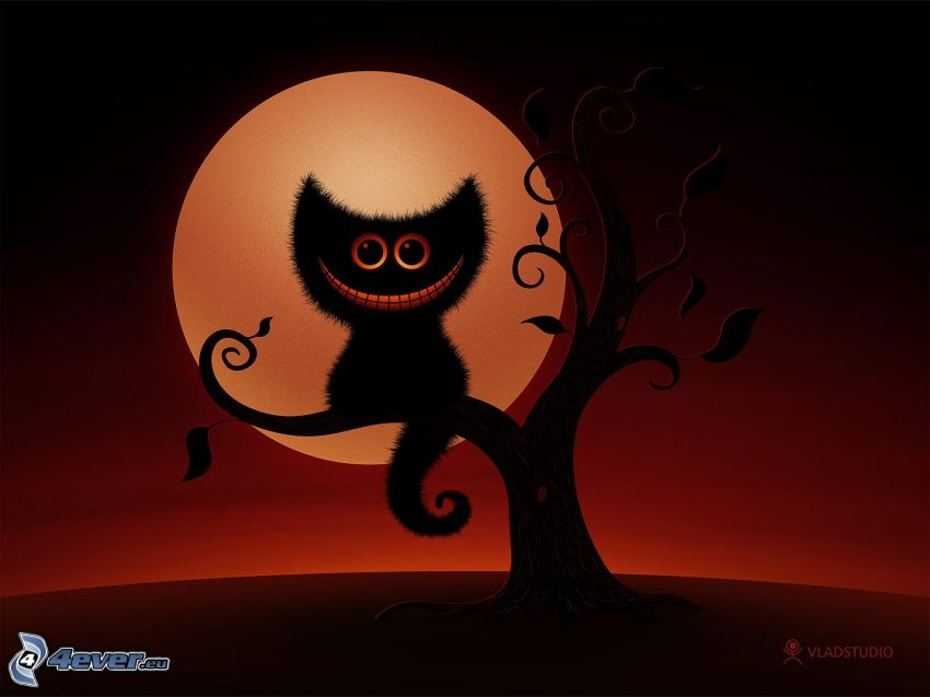 kot na drzewie, pełnia, pomarańczowy księżyc, drzewo rysowane