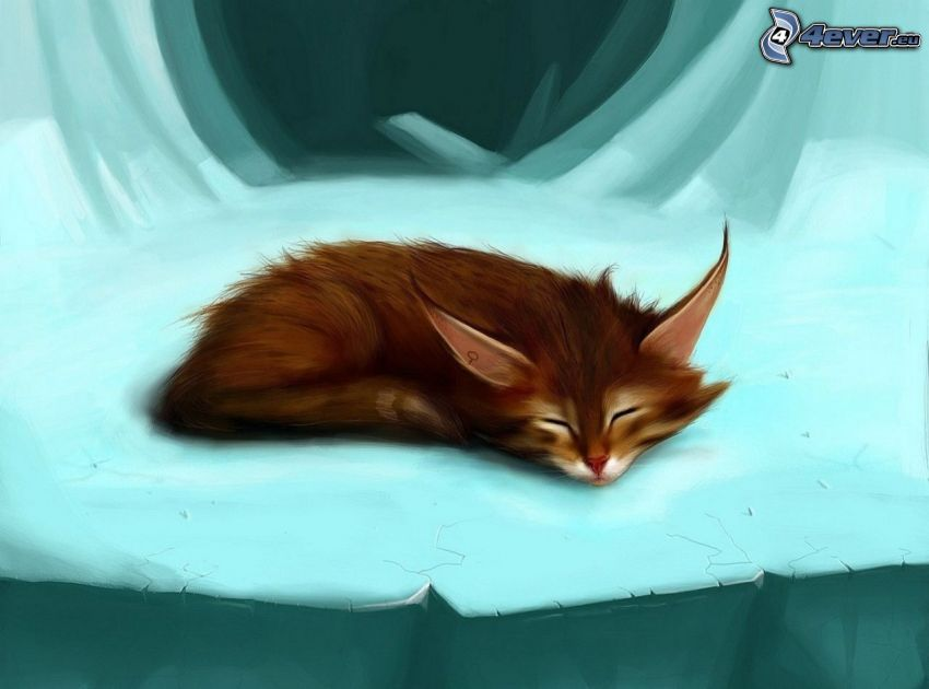 kot rysunkowy, śpiący kot