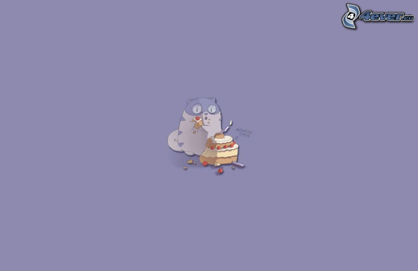 kot rysunkowy, tort