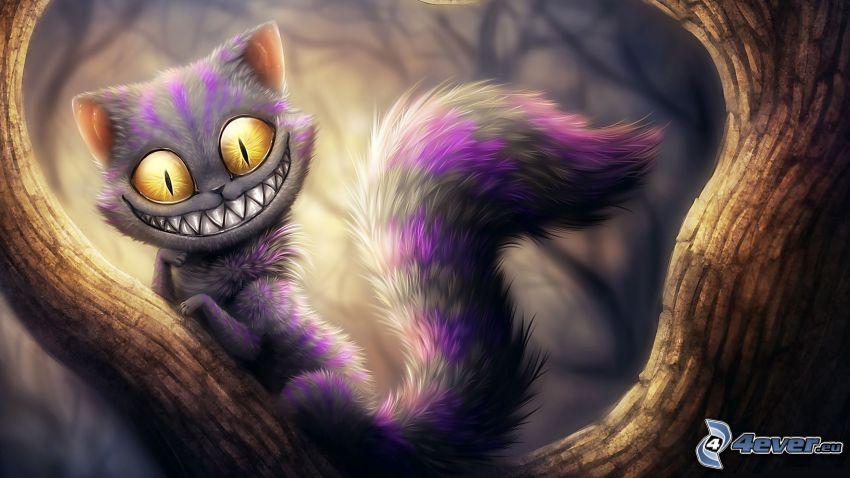 kot rysunkowy, uśmiech, drzewo