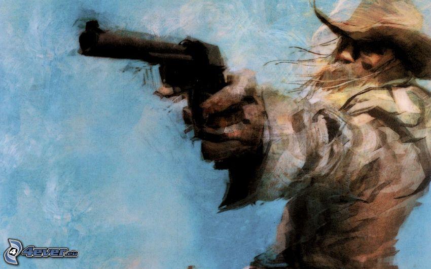 kowboj, bandyta, broń
