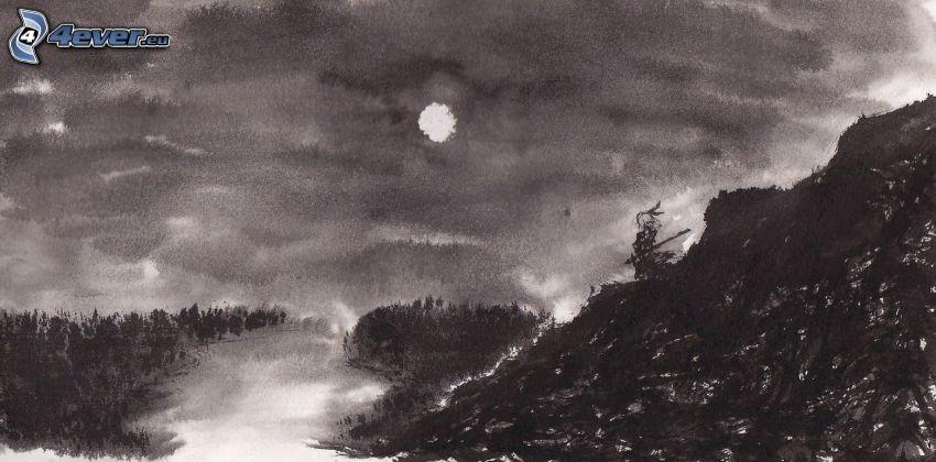 krajobraz, rzeka, księżyc