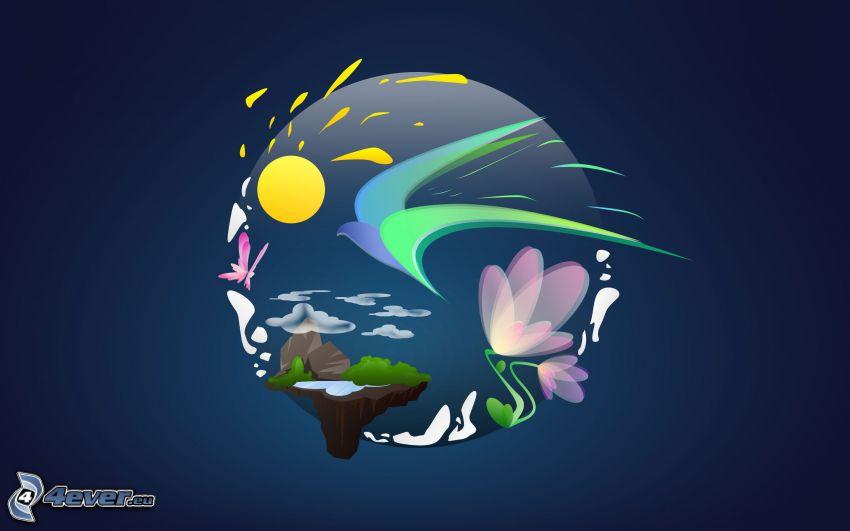 krajobraz, wyspa, ptak rysunkowy