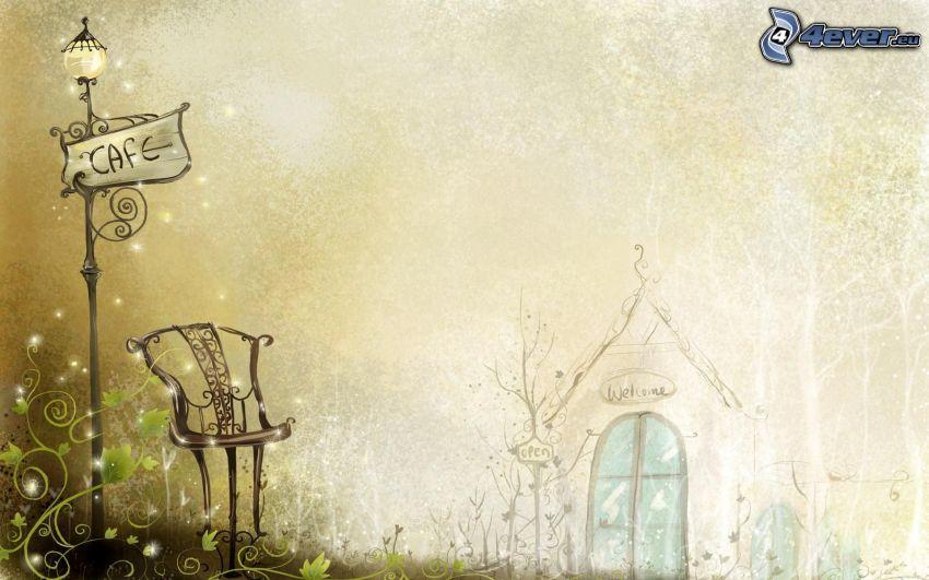 krzesło, lampa uliczna, domek