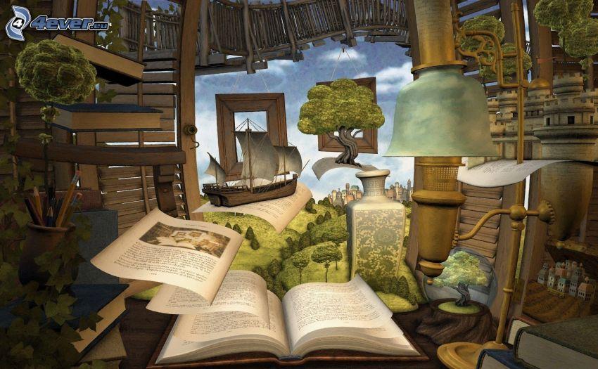książka, drzewa, rysunkowa żaglówka