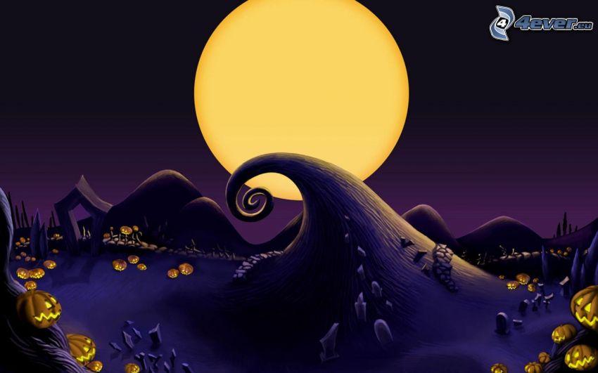 księżyc, fala, halloween dynie