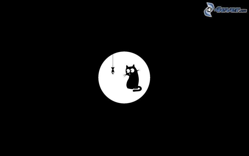 księżyc, kot rysunkowy, ryba