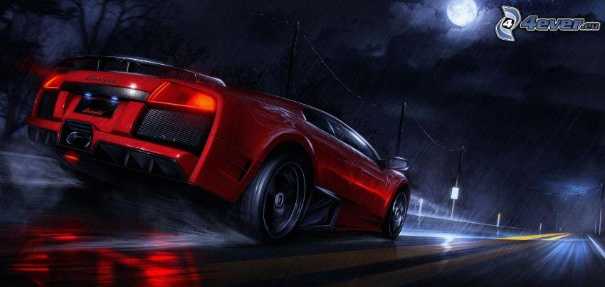 Lamborghini Murciélago, deszcz