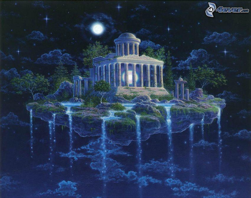 latająca wyspa, świątynia, noc, księżyc, wodospady