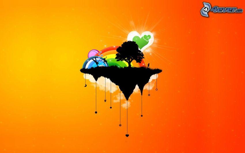latająca wyspa, sylwetka drzewa, sylwetki ludzi, kolorowa tęcza, serduszka