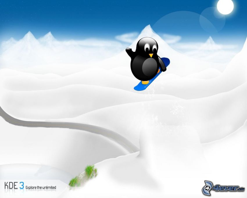 Linux, pingwin, snowboard, KDE3