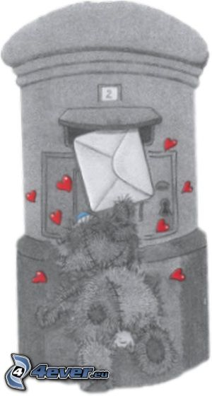 listy, miś, skrzynka pocztowa