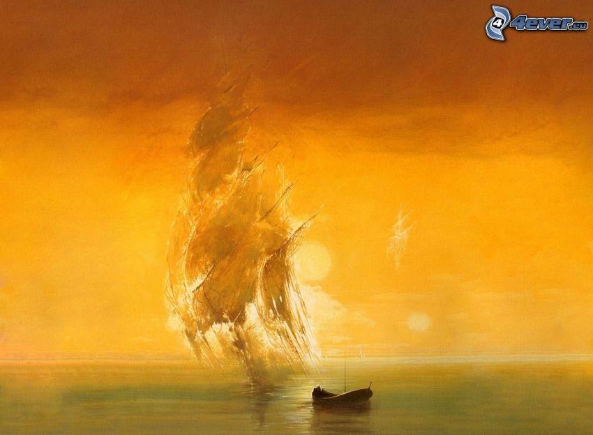łódka, malowidło, żółte niebo, morze
