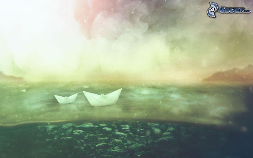 łódki z papieru, morze