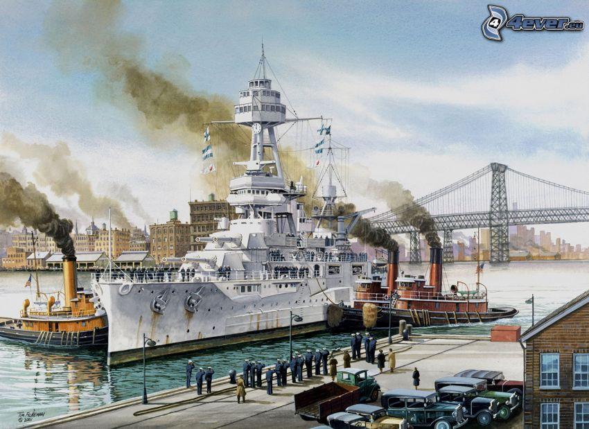 łódź wojskowa, parowiec