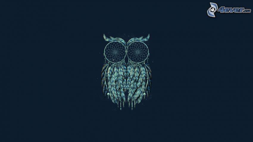 łowcy snów, sowa, niebieskie tło