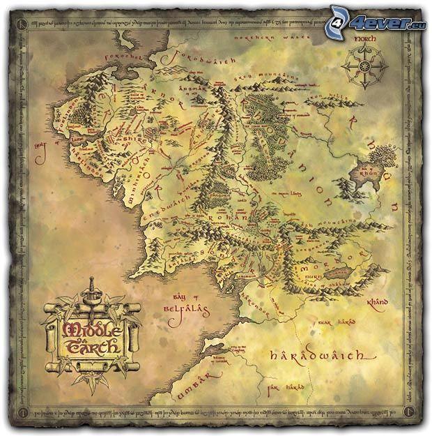 mapa, średniowiecze, Pan Pierścieni