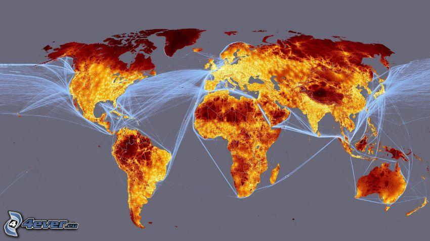 mapa świata, linie