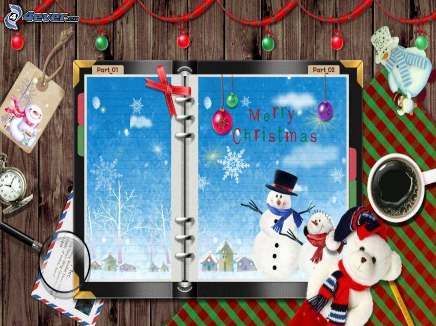 Merry Christmas, miś pluszowy, bałwany