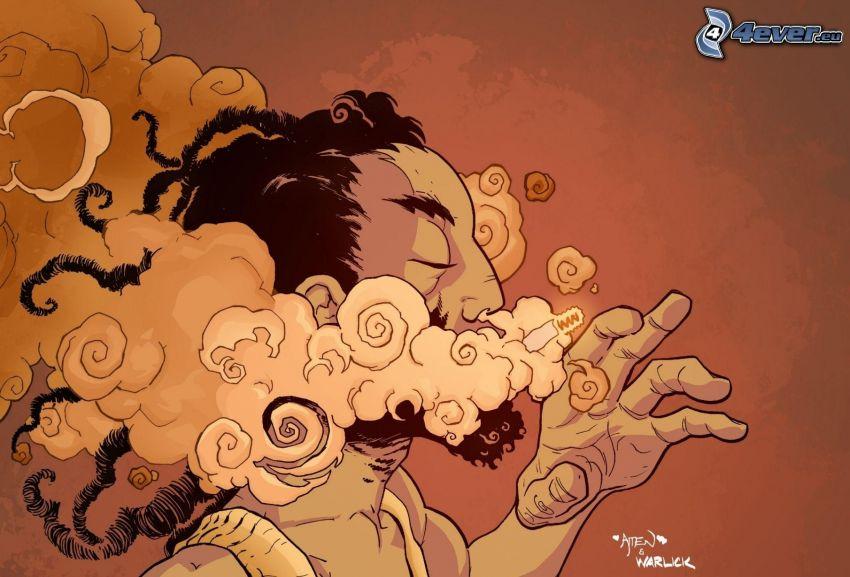 mężczyzna, papieros, dym