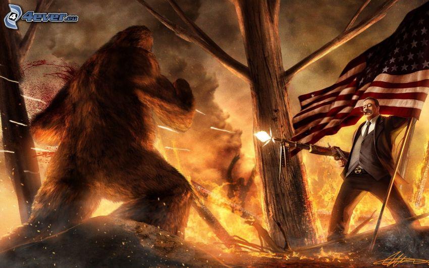 mężczyzna z pistoletem, flaga Ameryki, potwór, strzelanie
