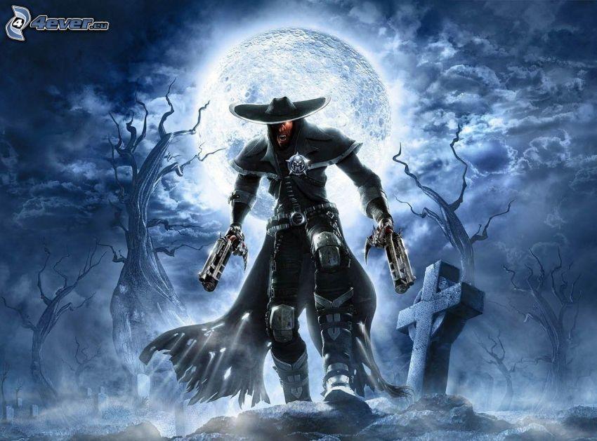 mężczyzna z pistoletem, księżyc, cmentarz